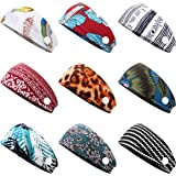 Florideco 9 Pack Women's Yoga Headbands with Button Vintage Hair Bands Elastic Turban Head Wrap Sweat Band Cotton Hair Access
