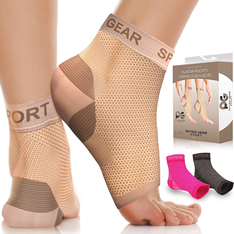 Physix Gear Sport Calcetines Fascitis Plantar, Las Mejores Medias compresión Hombre y Mujer para aliviar el Dolor de pies, Calcetines compresión para Mejorar la circulación, Medias de compresión