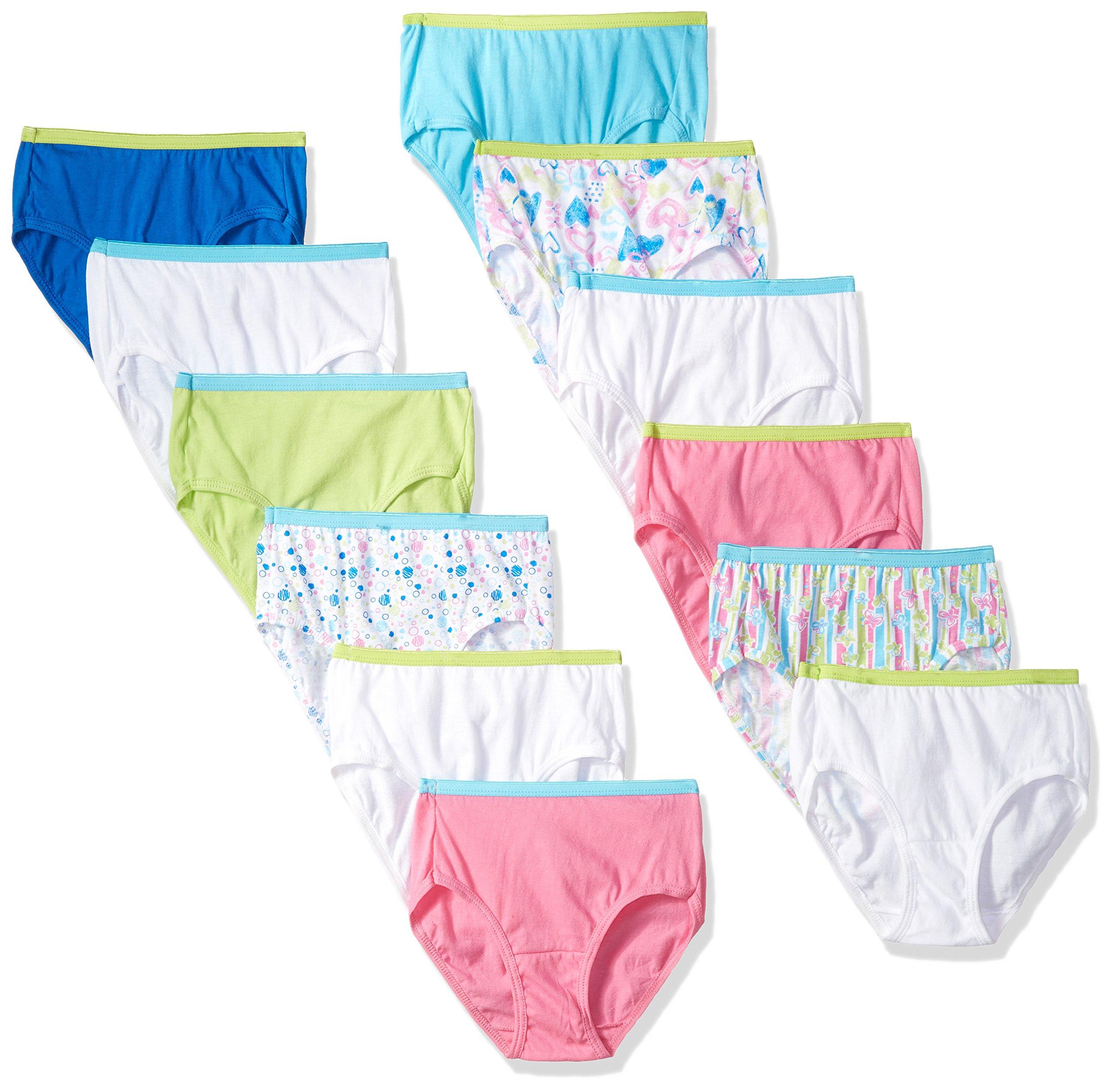 Hanes Big Girls' Tagless Cotton Briefs 12-Pack, Assorted, 10