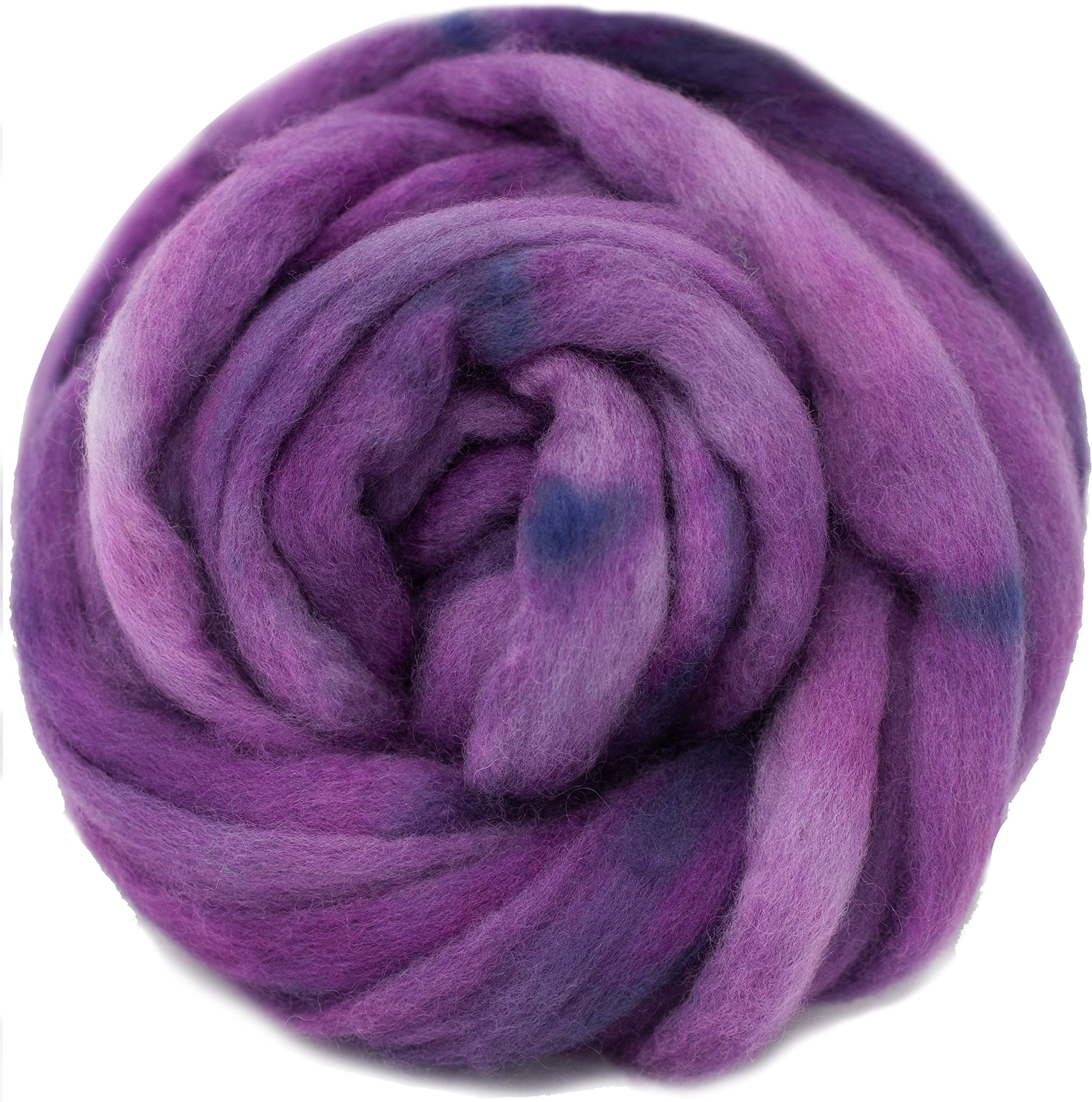Wool Roving Hand Dyed. Super Soft BFL Combed Top Pre-Drafted for Easy Hand Spinning. Artisanal Craft Fiber ideal for Felting, Weaving, Wall Hangings and Embellishments. 4 Ounce. Purple by Living Dreams Yarn