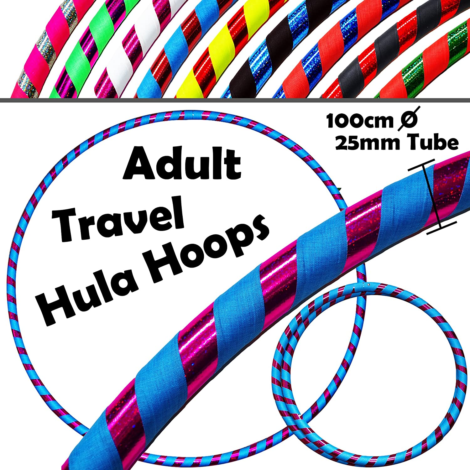 PRO Hula Hoops (Ultra-Grip/Glitter Deco) Weighted TRAVEL Hula Hoop (100cm/39') Hula Hoops For Exercise, Dance & Fitness! (640g) NO Instructions Needed - Same Day Dispatch.! Flames N Games
