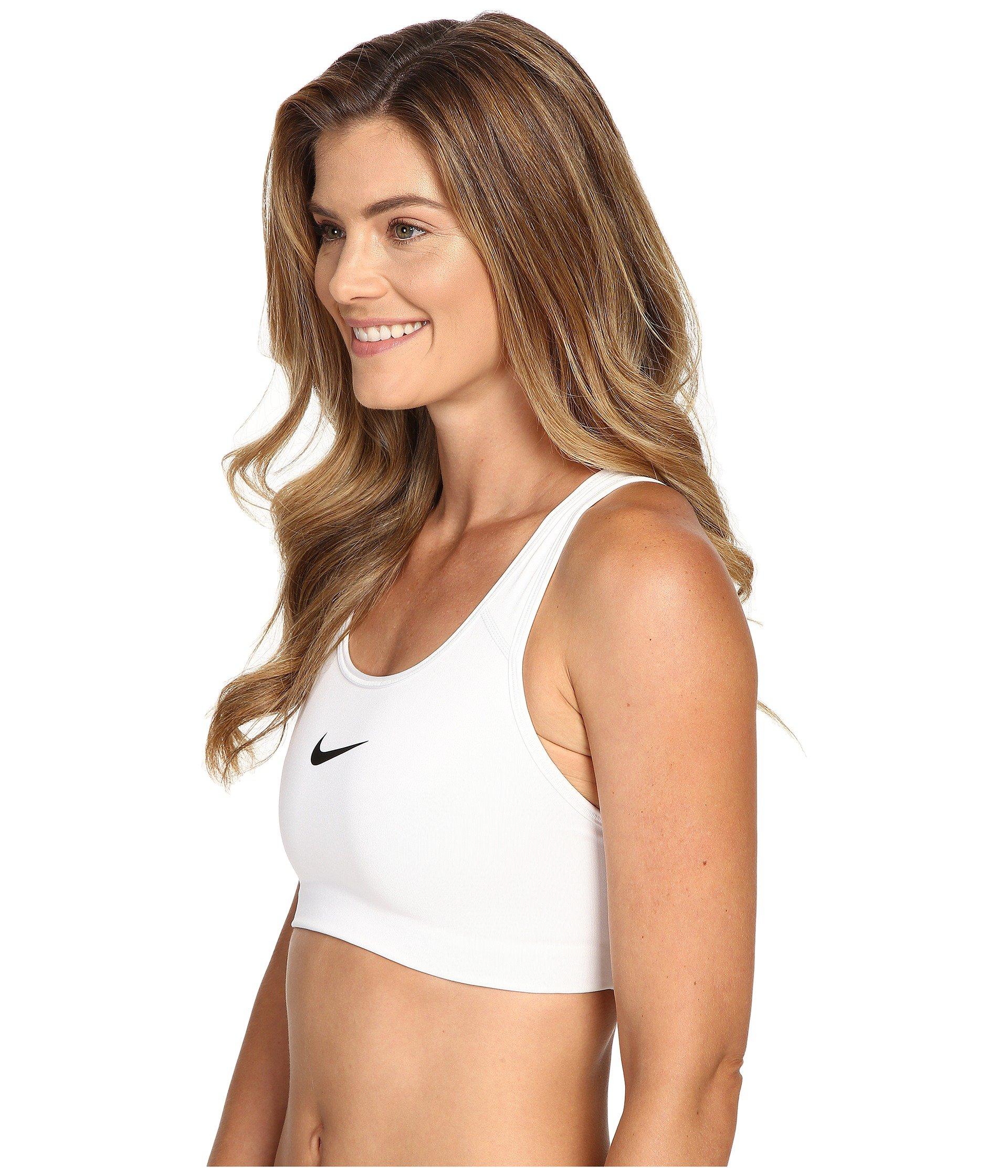 NIKE Women's Swoosh Sports Bra, White/Black, X-Small by Nike (Image #2)