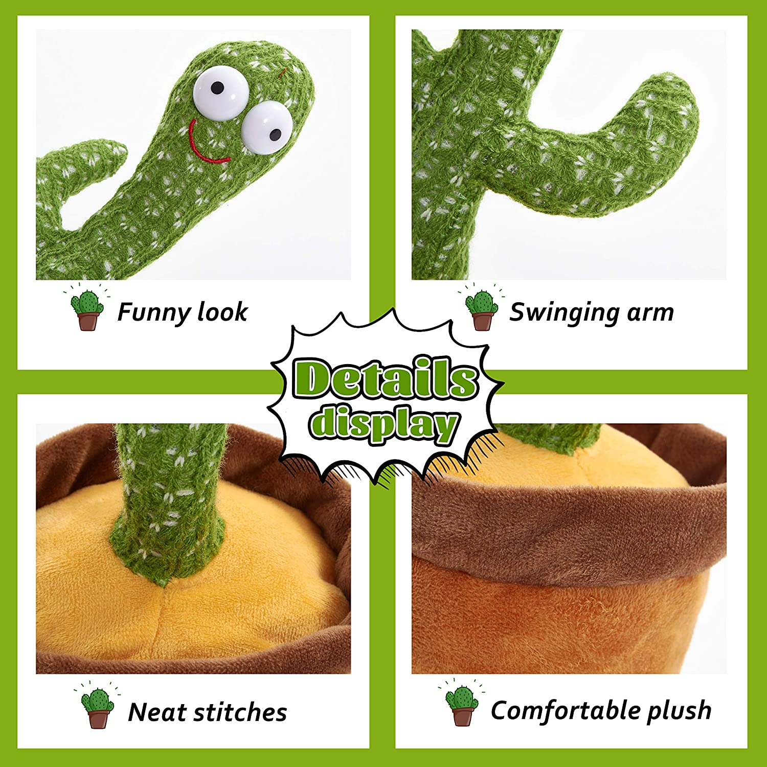 Houwsbaby Electric Cactus Shake Singing Dancing Plush Plant Toy Musical Gifts for Child Boys Girls Desk Decoration Holiday Present,Green 12in