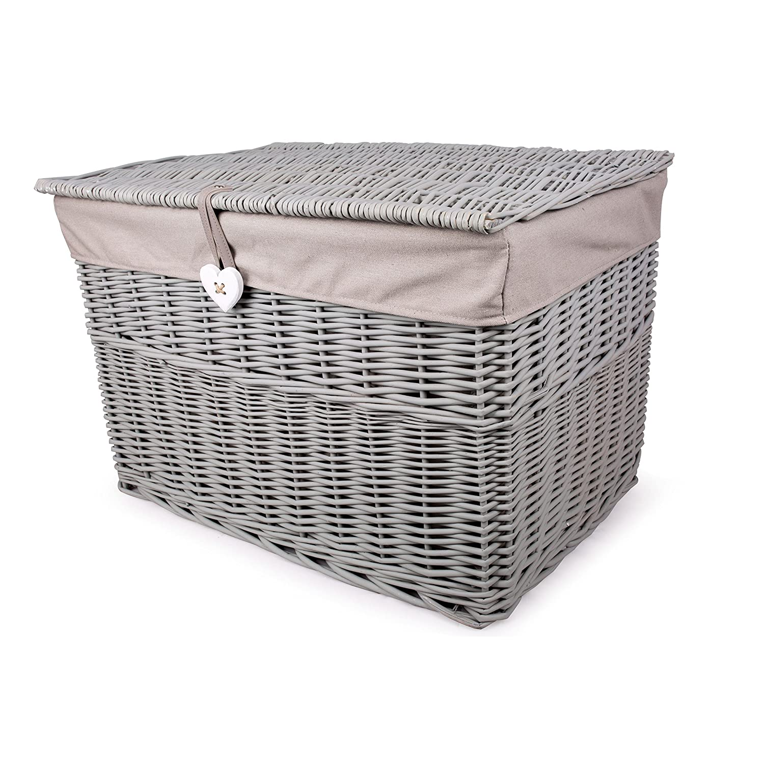 Grey Painted Wicker Trunk Storage Chest Hamper Basket Box Removable Lining (Large) Basic House