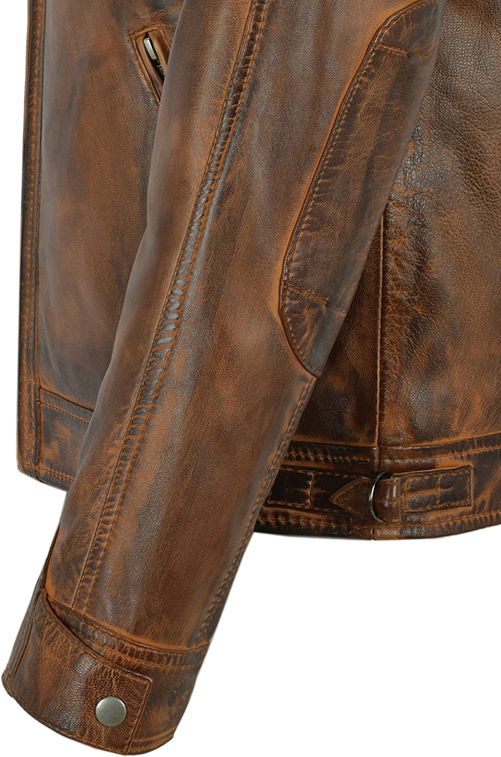 Brad Pitt Men Real Leather Jacket Chestnut Speed Racing Quilted Shoulder Biker Motocycle Style