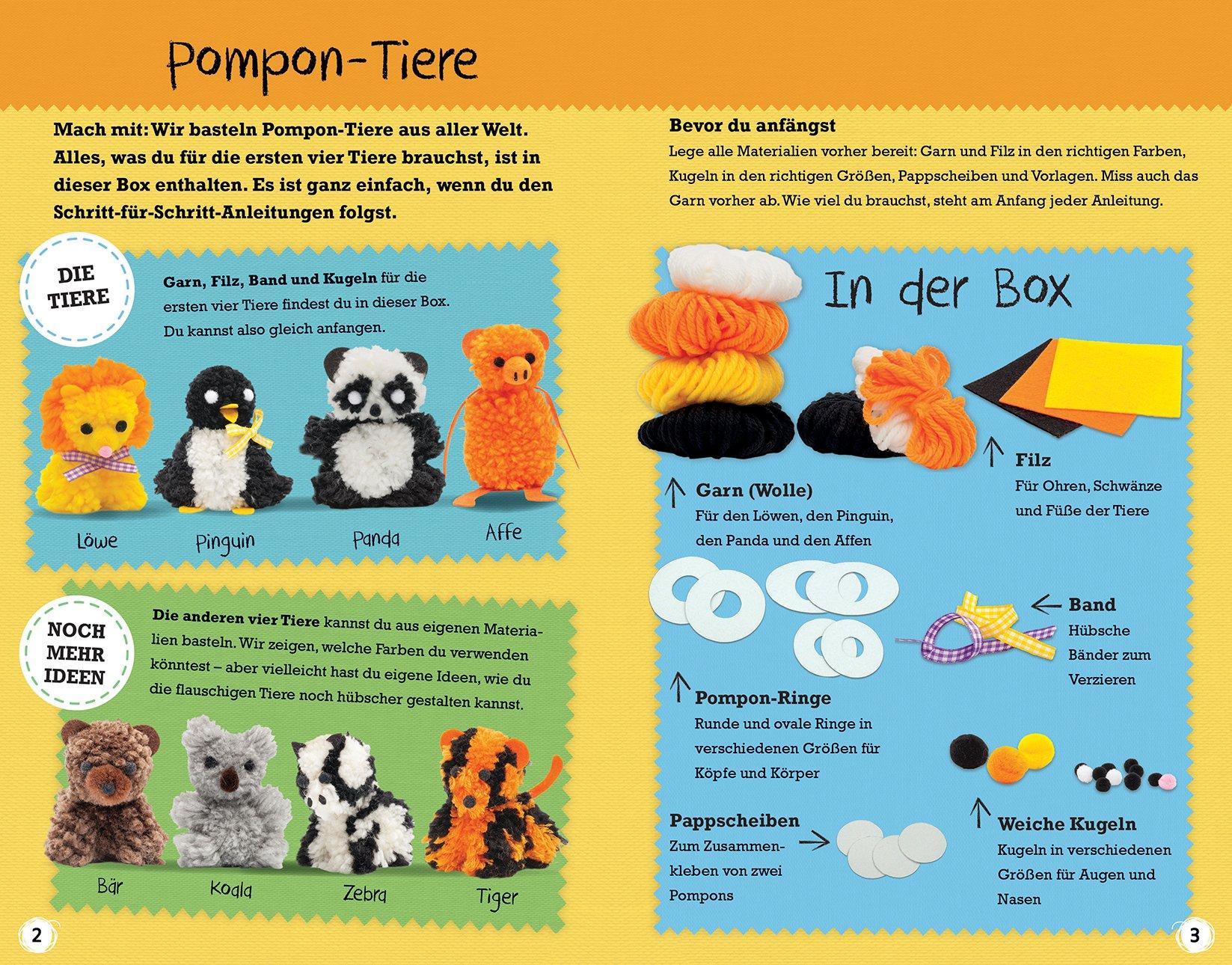 Pompon-Box Zoo-Tiere: Wilde Tiere aus Pompons selber machen: Amazon ...