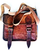 Men's Genuine Leather Small Brown Messenger Passport Bag Ipad Tablet Satchel
