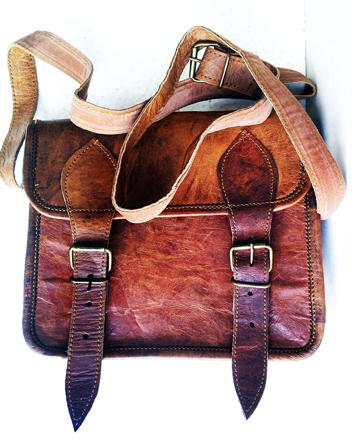 Mens Genuine Leather Small Brown Messenger Passport Bag Ipad Tablet Satchel