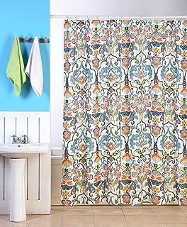 Orange Floral Shower Curtain. Emery Fabric Shower Curtain  70 x70 Colorful Floral Geometric Printed Design Amazon com Lush Decor 16T000209 Bohemian Stripe