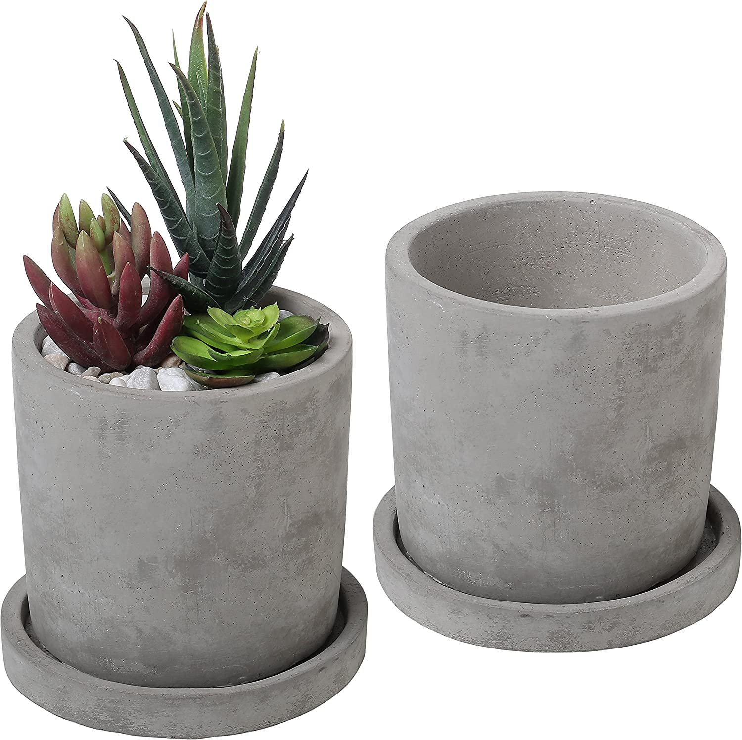 Amazon.com: Set of 2 Modern 4-Inch Gray Unglazed Cement Succulent Planter  Pots with Removable Saucer: Garden & Outdoor