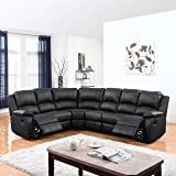 Large Classic and Traditional Bonded Leather Reclining Corner Sectional Sofa (Black)