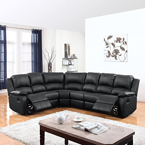 DIVANO ROMA FURNITURE Large Classic and Traditional Bonded Leather Reclining Corner Sectional Sofa (Black)