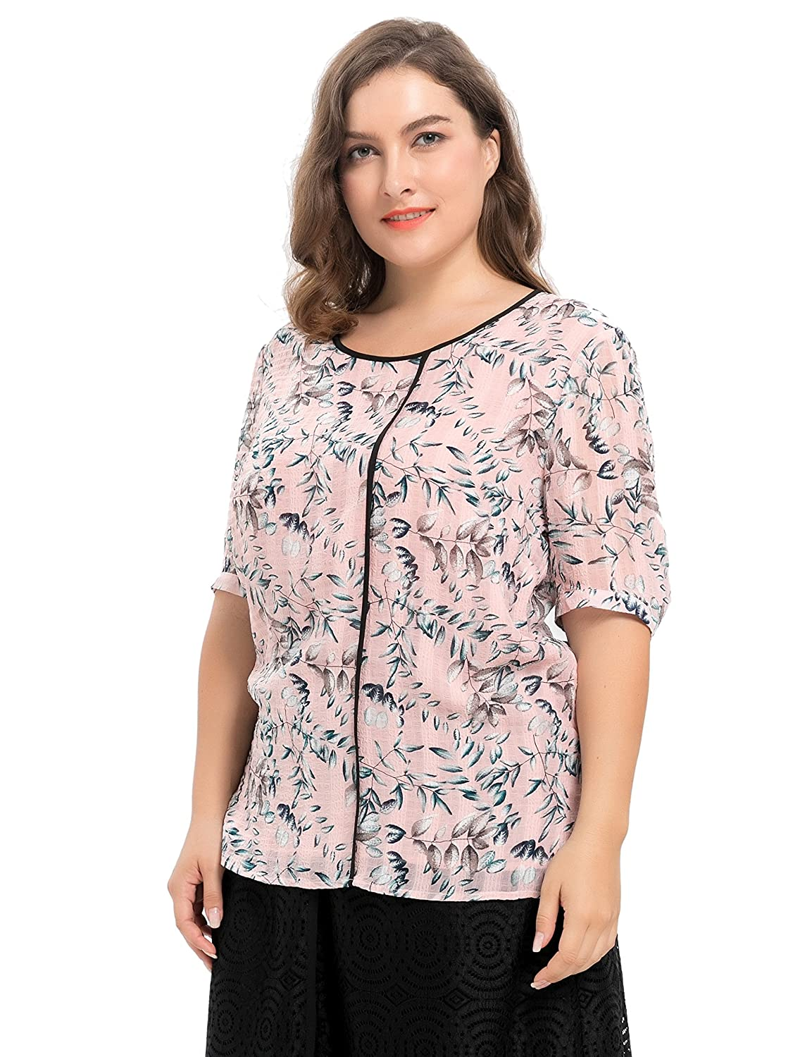 084fe155a7f72 Chicwe Women s Plus Size Lined Leaf Printed Dobby Chiffon Top - Casual and Work  Blouse 1X at Amazon Women s Clothing store