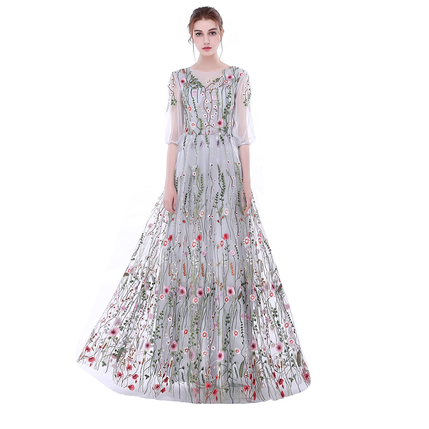 Amazon.com: Dobelove Womens Long Sleeves Floral Embroidery A-line Evening Dress: Clothing