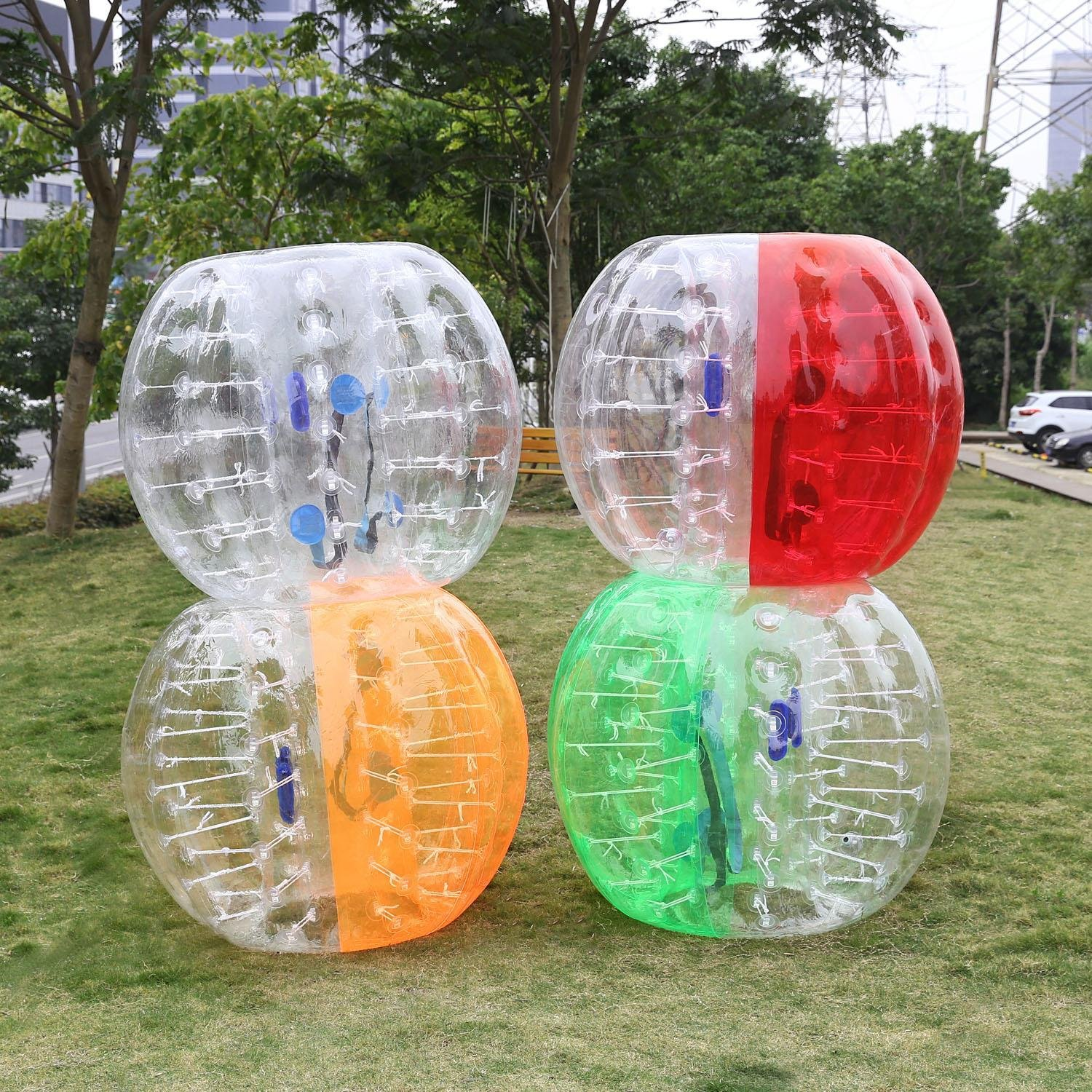 Mewalker Giant Inflatable Bumper Ball 0.8MM TPU Bubble Soccer Ball Zorb Ball Human Hamster Ball With 2 Handles 2 Adjustable Shoulder for Children Kids Adults Playground Outdoor (1.2M-1.5M,US STOCK) by Mewalker (Image #4)