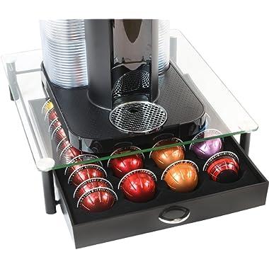 DecoBros Crystal Tempered Glass Nespresso Vertuoline Storage Drawer Holder for Capsules