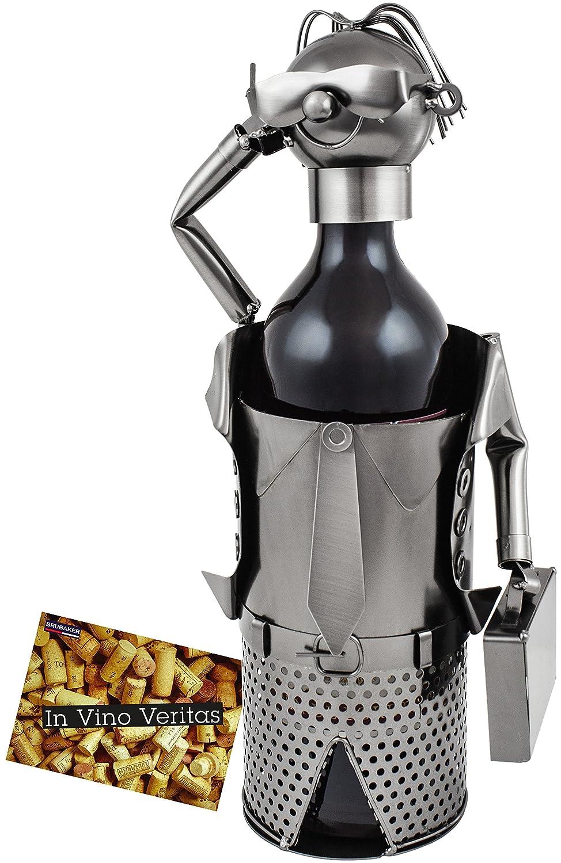 Brubaker Bottiglia di Vino Titolare Supporto Bottiglie d' Affari Oggetto Decorativo Metallo con Biglietto d' Auguri per Vino Regalo