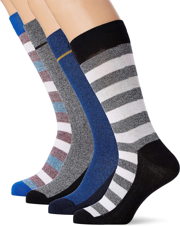 Multicolor Talla /única Calcetines para Hombre Black Detail:Black /& Nautical Blue /& Nautical Blue JACK /& JONES Jacbasic Stripe Socks 4 Pack