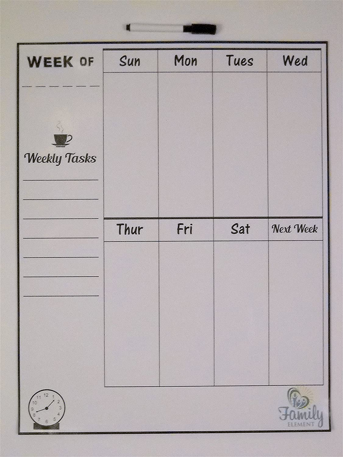 """Family Element's Large Weekly Dry Erase Refrigerator Magnet Calendar – Size 19.5x15.5"""" (Includes one fine point Black Dry Erase Marker)"""
