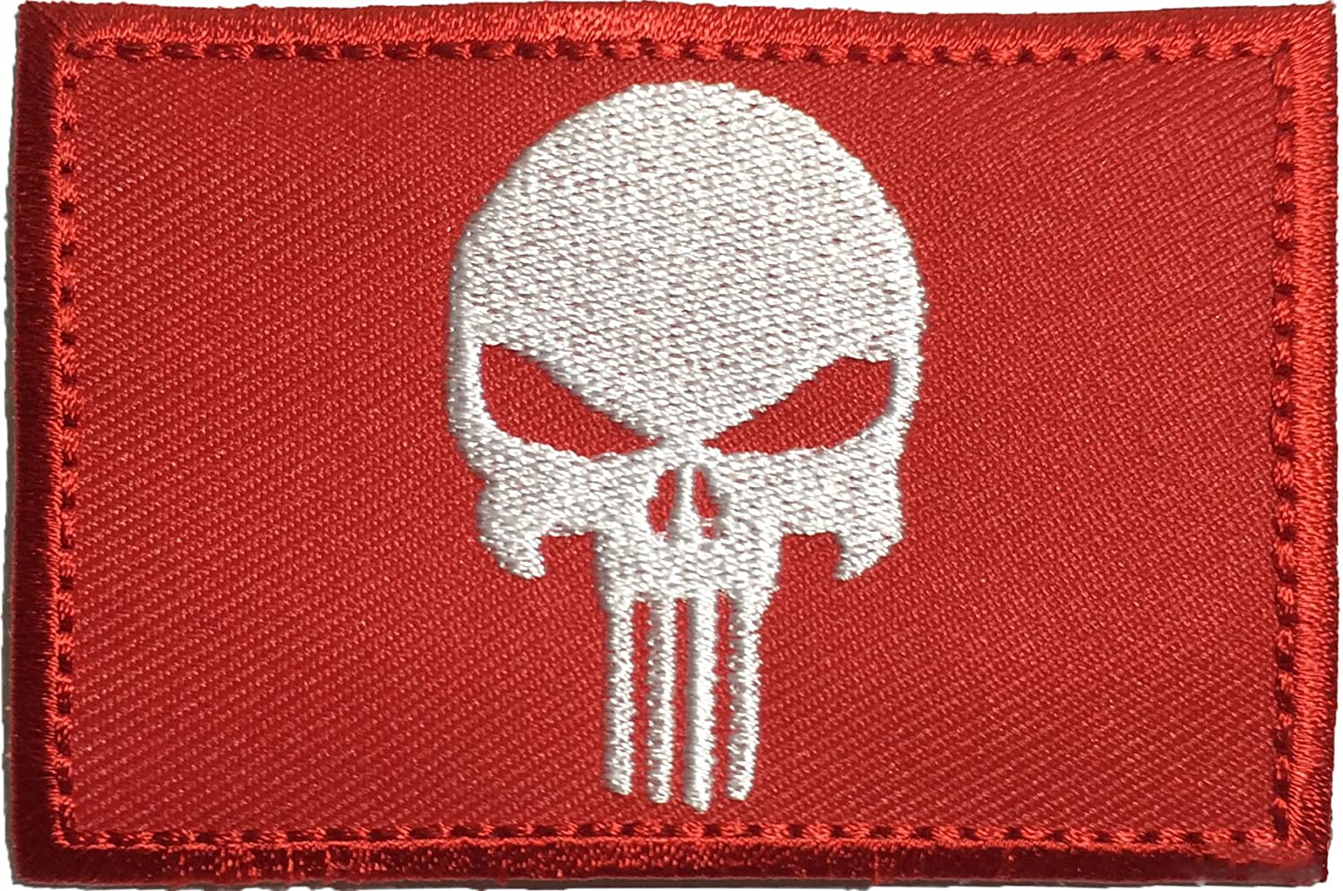 Tactical Morale Operator Punisher Skull Sew on Iron on Embroidered Applique Patch 2x3 Red - By Ranger Return (RR-IRON-PUNI-0RED) by Ranger Return   B01C8FE4VA