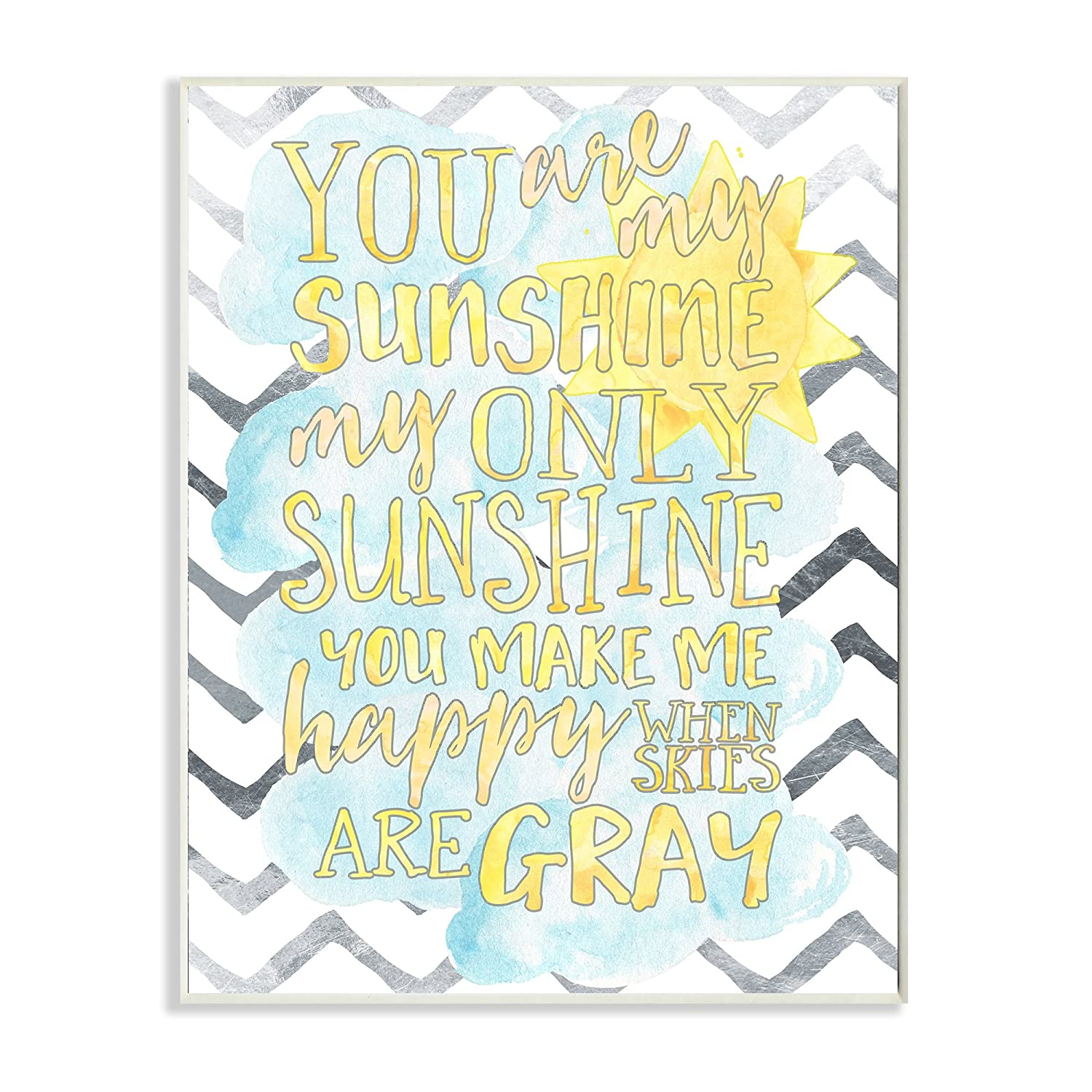 Stupell Home Décor You are My Sunshine Watercolors Chevron Wall Plaque Art, 10 x 0.5 x 15, Proudly Made in USA Stupell Industries brp-1761_wd_10x15
