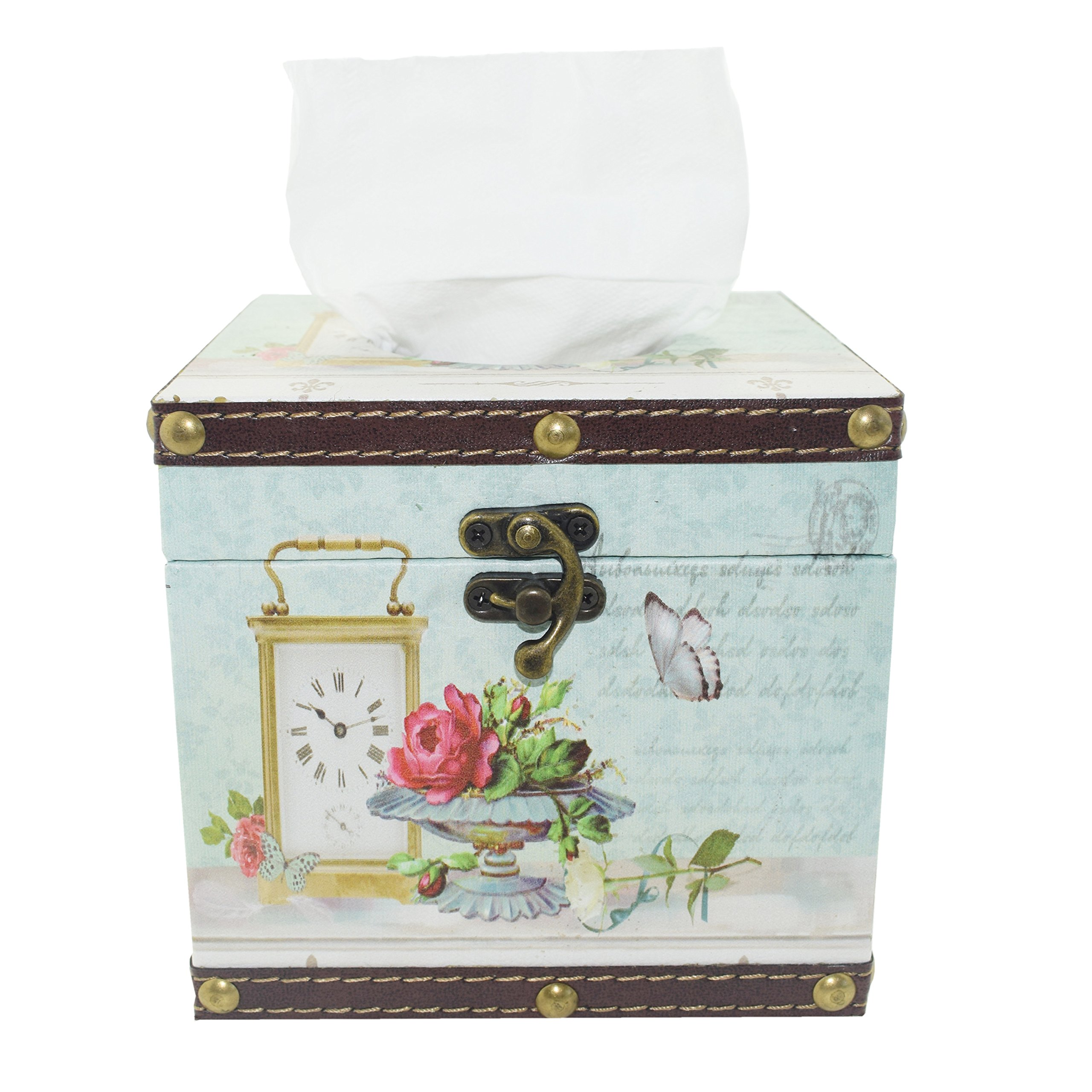 Ulove Prs Vintage Tissue Box Holder - Decorative Case Kitchen, Dining Living Room - Square Handmade Tissue Case Waterproof Faux Leather Japanese Printing Technology (Butterfly-B)