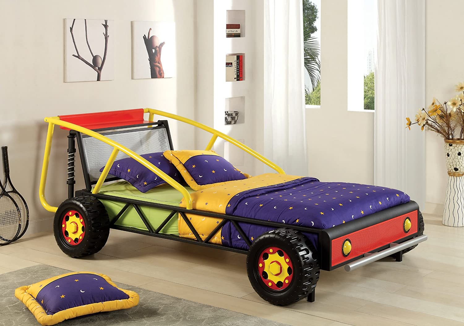 Amazon.com: Furniture of America Max Metal Car Bed, Twin, Silver and ...