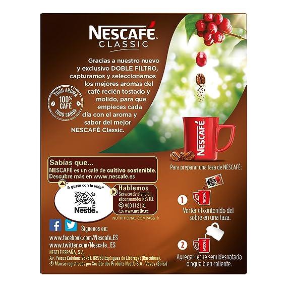 NESCAFÉ Café Classic Soluble Natural| Sobres | Paquete de 10 Sobres cada uno de 2g de Café: Amazon.es: Alimentación y bebidas