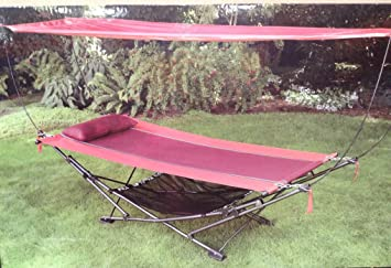 Foldable Steel-frame Hammock with canopy & Amazon.com : Foldable Steel-frame Hammock with canopy : Garden ...