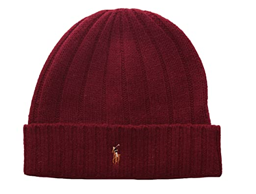 dea05bd8cd4a0 Polo Ralph Lauren Men s Knit Cuff Beanie Hat One Size Burgundy at Amazon Men s  Clothing store