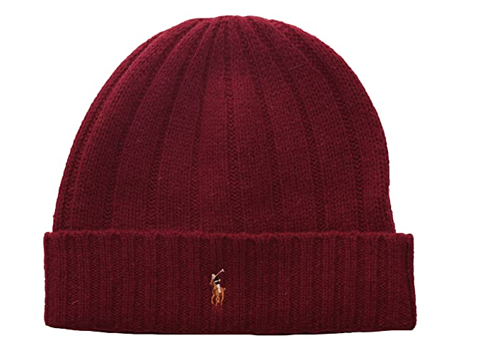 1bbe839290f Polo Ralph Lauren Men s Knit Cuff Beanie Hat One Size Burgundy at ...