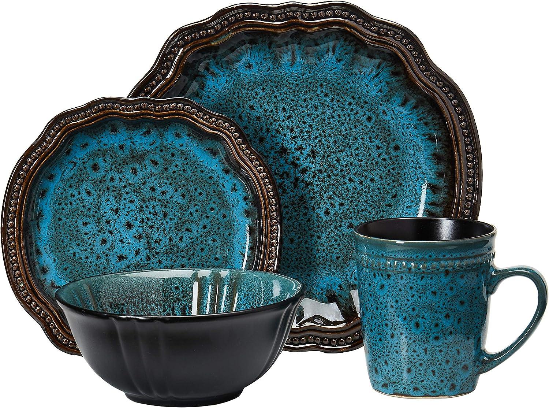 Elama Fancy Round Oval Stoneware Fine Dining Dinnerware Dish Set