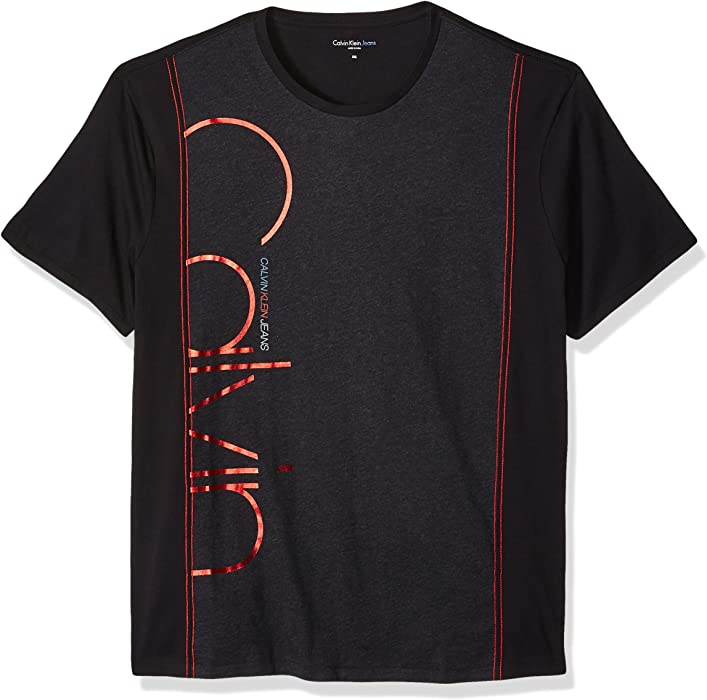 b216b492 Calvin Klein Jeans Men's Short Sleeve Side Panels Crew Neck T-Shirt, Black,