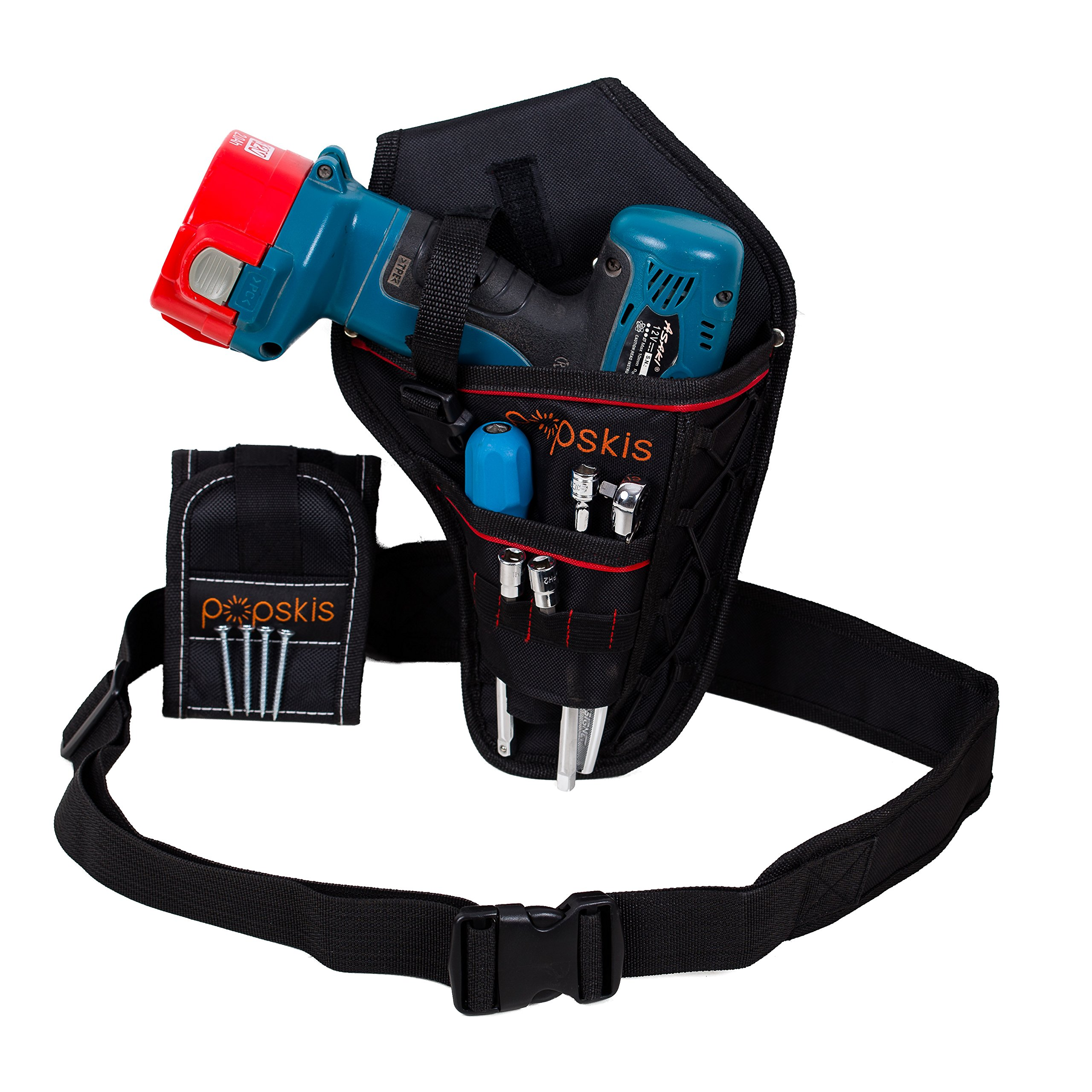 Cordless Drill Holster With Adjustable Belt & Magnetic Wristband Accessories Holds Light Battery Tools Screws Nuts Bolts Drill Bits by pOpskis