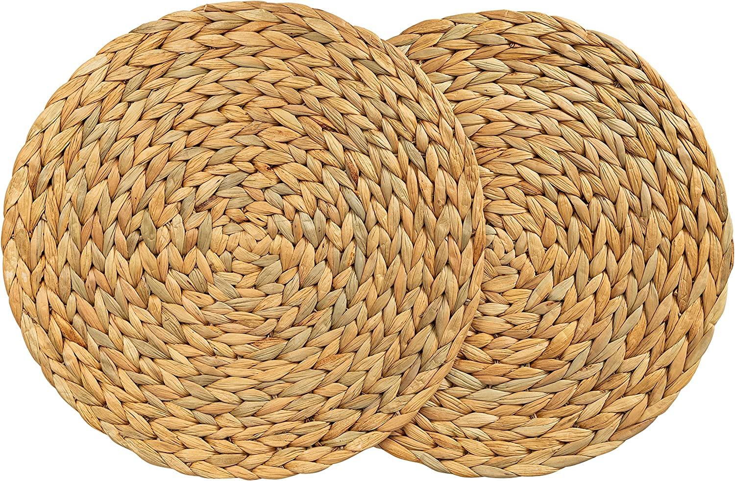 """CENBOSS Beautiful Woven Placemats Round Placemats for Dining Table (Natural, 11.8"""" Set of 2)"""