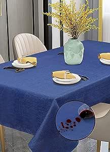 Violet Linen - Mantel Rectangular de Lino sintético con patrón de poliéster, Antimanchas, a Prueba de derrames y Resistente al Agua, para Asientos de 6 a 8 Personas, 152 x 213 cm, Azul Marino