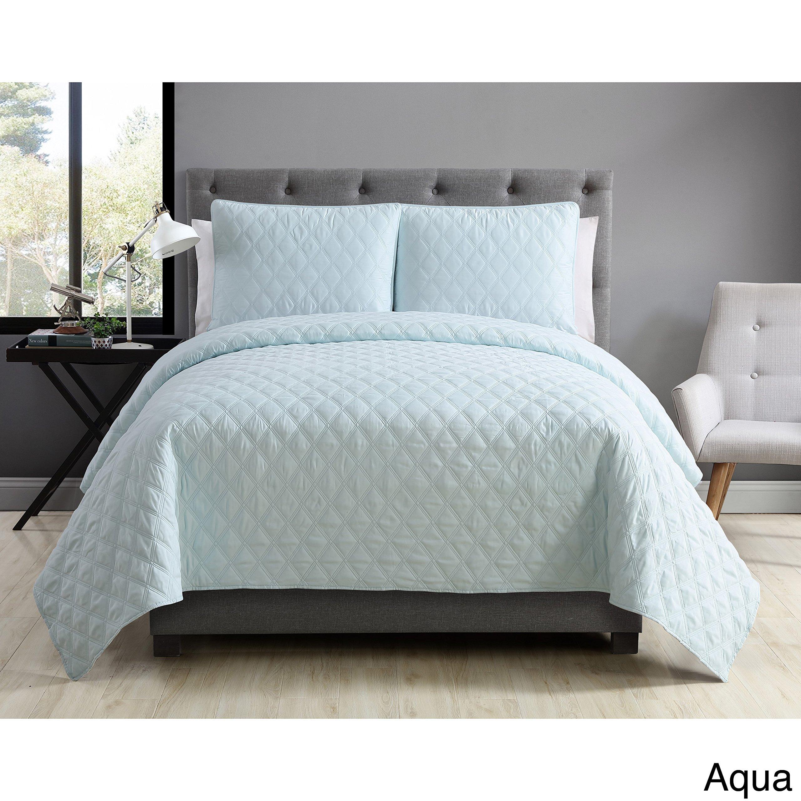 VCNY Home Buckingham Coverlet with 2 Pillow Shams Set, Full/Queen, Aqua