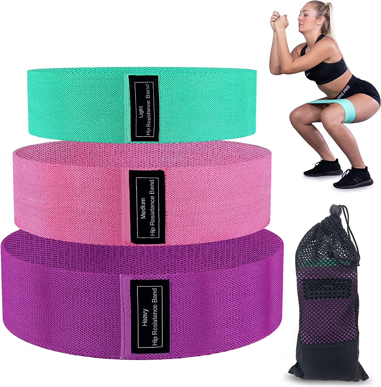 Fun Buns Fabric Workout Resistance Bands Set, 3 Pack, X-Light, Light, and Medium Progressive Fitness Training, Workout Equipment for Legs, Butt and Core, Drawstring Travel Bag