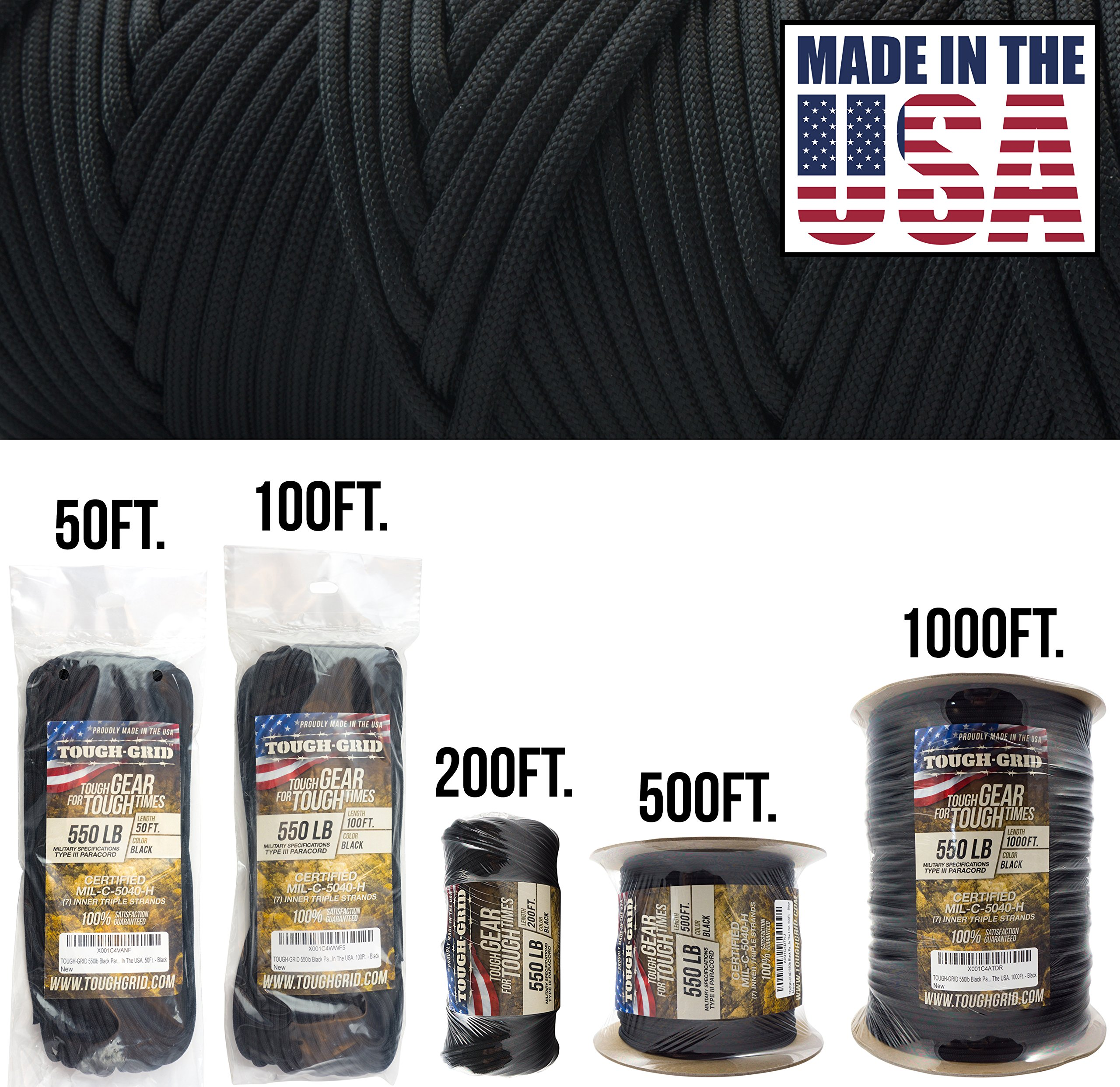 TOUGH-GRID 550lb Black Paracord/Parachute Cord - 100% Nylon Genuine Mil-Spec Type III Paracord Used by The US Military - Great for Bracelets and Lanyards - Made in The USA. 50Ft. - Black by TOUGH-GRID (Image #1)