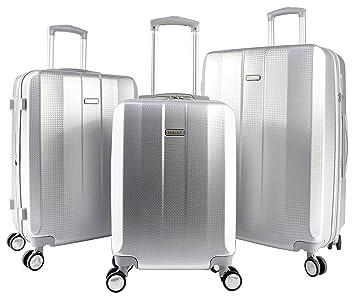 "83708cbb57f011 EXZACT Luggage 3 Piece Set Silver – 28"""