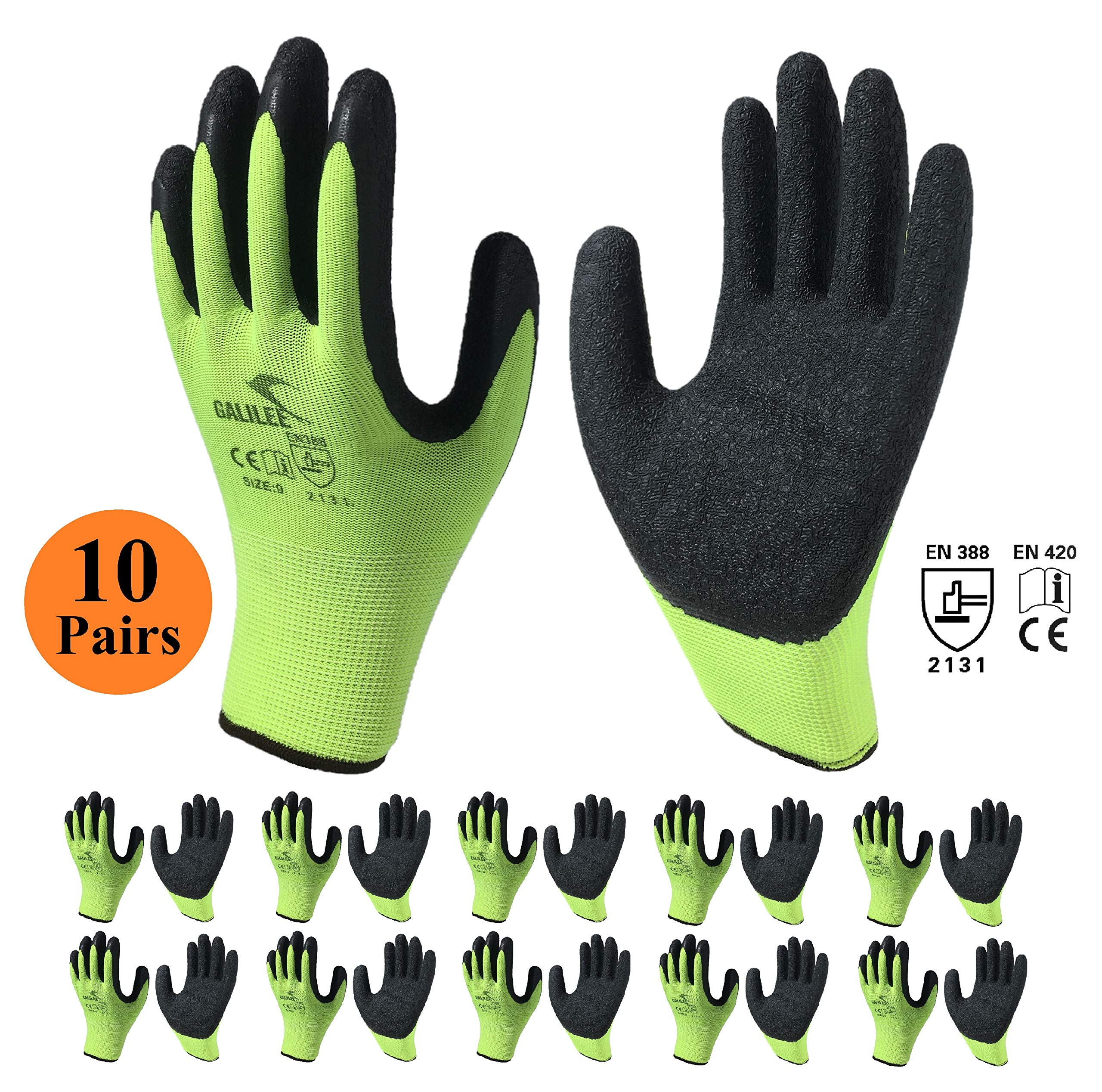 Work Safety Gloves, 10-Pair Pack, Gardening Gloves Rugged with Firm Grip Latex Rubber Coating for Men and Women… 1