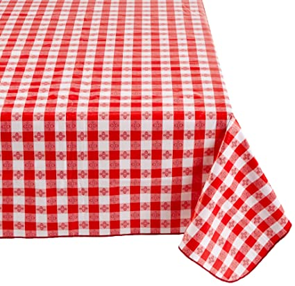 Winco TBCO 90R Checkered Table Cloth, 52 Inch X 90 Inch,