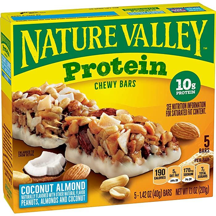 Nature Valley Chewy Granola Bar, Protein, Coconut Almond, Gluten Free, 5 Bars - 1.4 oz