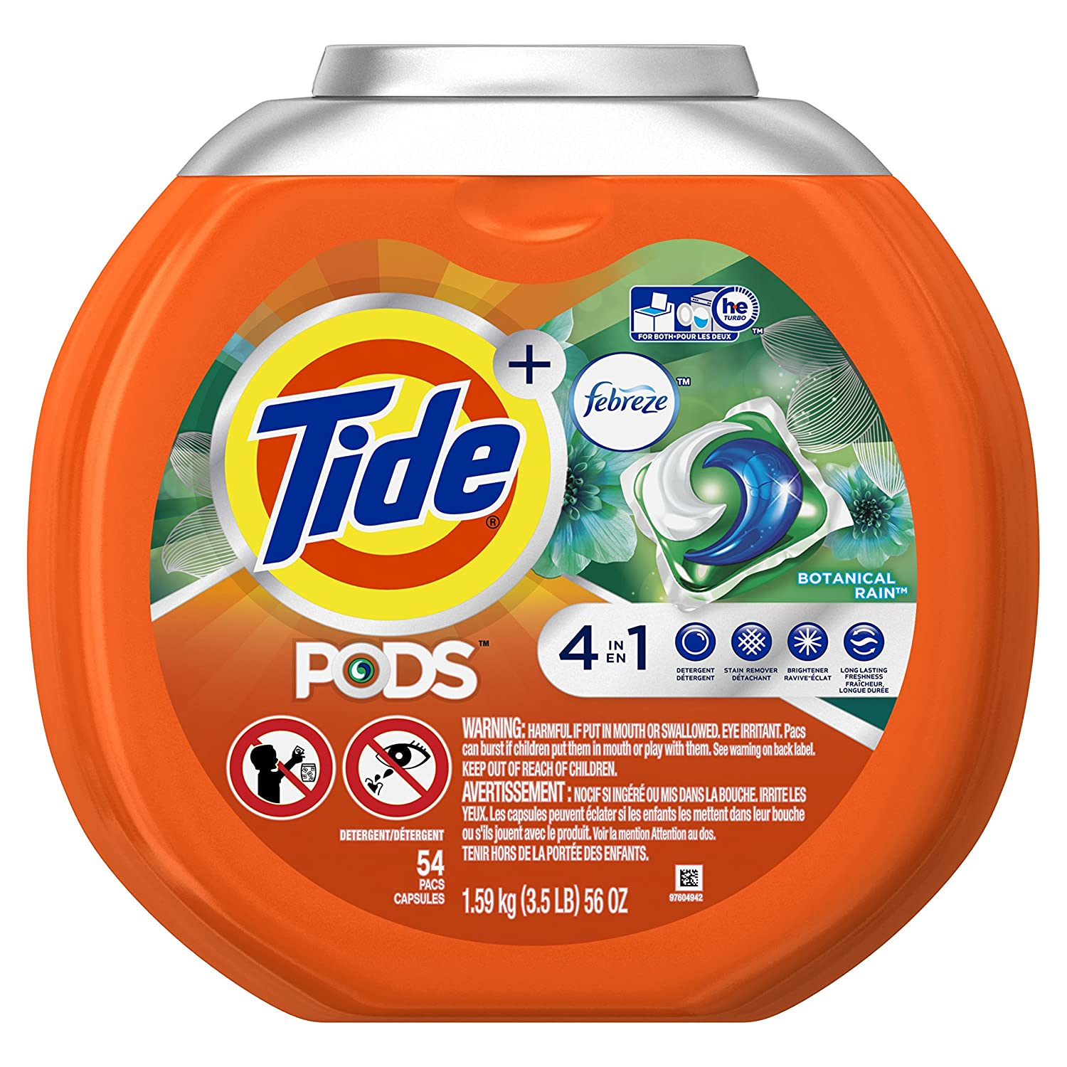 Tide Pods Plus Febreze Laundry Detergent Pacs, Botanical Rain, 54 Count (Packaging May Vary)