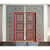 Ambesonne Moroccan Decor Collection, A Magnificent Moroccan Traditional Ancient Door Gate Brass Historic Handicraft Image, Living Room Bedroom Curtain 2 Panels Set, 108 X 84 Inches, Blue Coral