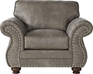 Roundhill Furniture Leinster Faux Leather Upholstered Nailhead Chair, Gray