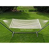 extra wide XL Big heavy guy WHITE Cotton mesh net 2 person Hammock swing 440 lbs