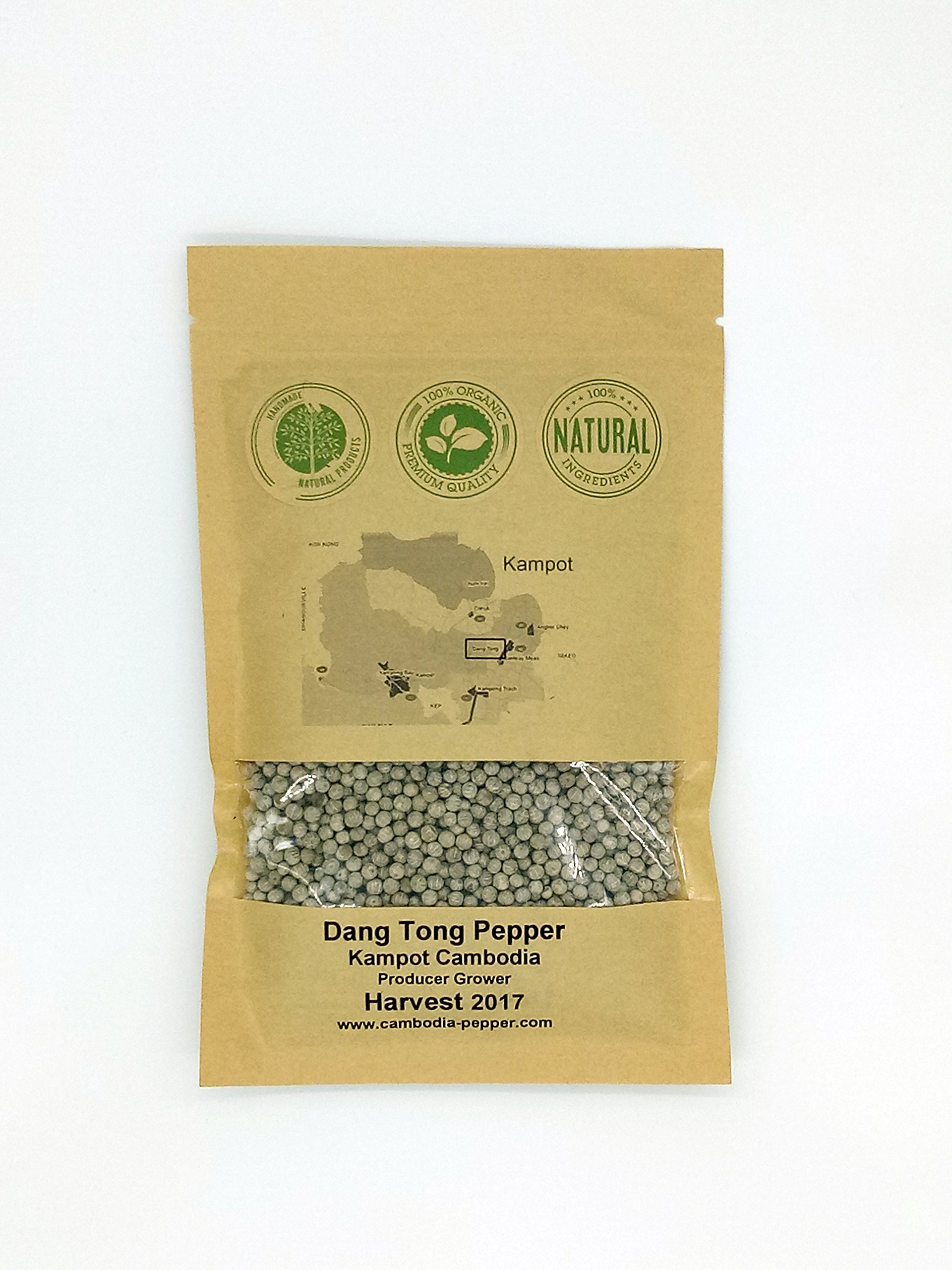 Harvest 2019 - Kampot Pepper Number : P2-035-002 - District of KAMPOT - New DANG TONG White Pepper Gourmet Pepper whole Peppercorns 200g / 7 onces - producer Grower harvest March 2019 - Cambodia