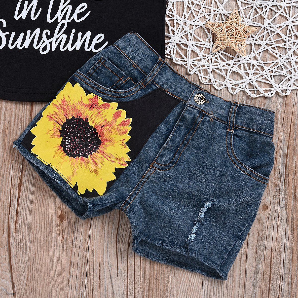 SWNONE 1-6T Toddler Girl Sleeveless Vest Tops Floral Denim Shorts Outfits Set