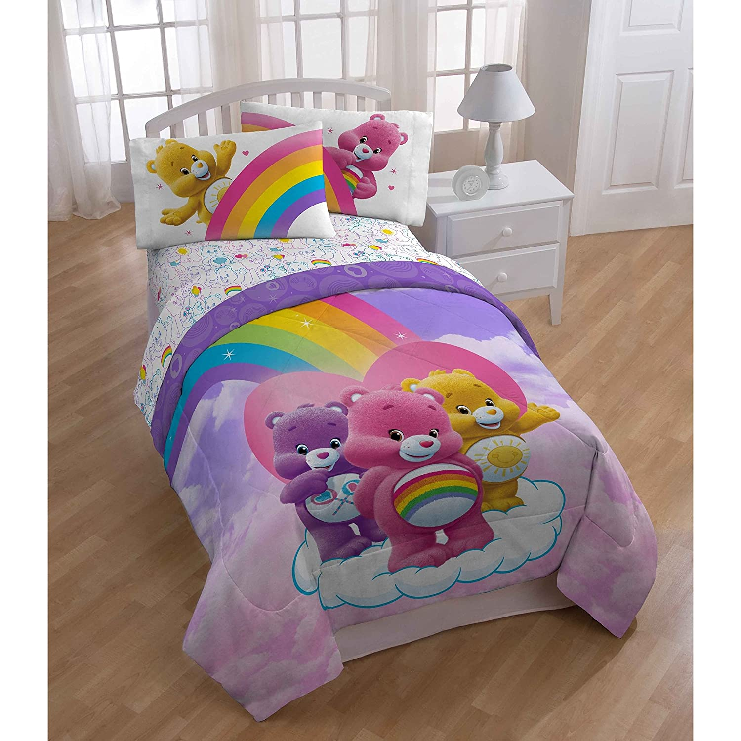Ln 1 Piece Girls Rainbow Care Bears Themed Comforter Twin, Happy Fun Cheer Share Funshine Bear Character Themed Bedding Carebears TV Show Movie Loveable Pattern, Polyester